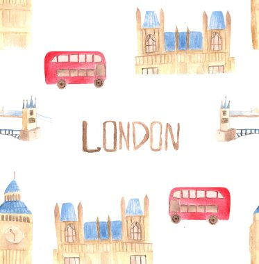 Watercolor London pattern. Hand drawn illustration with red bus, Big Ben clock, Houses of parliament, Tower bridge.