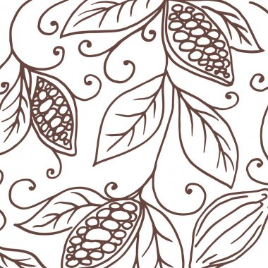 Hand drawing background of cocoa beans