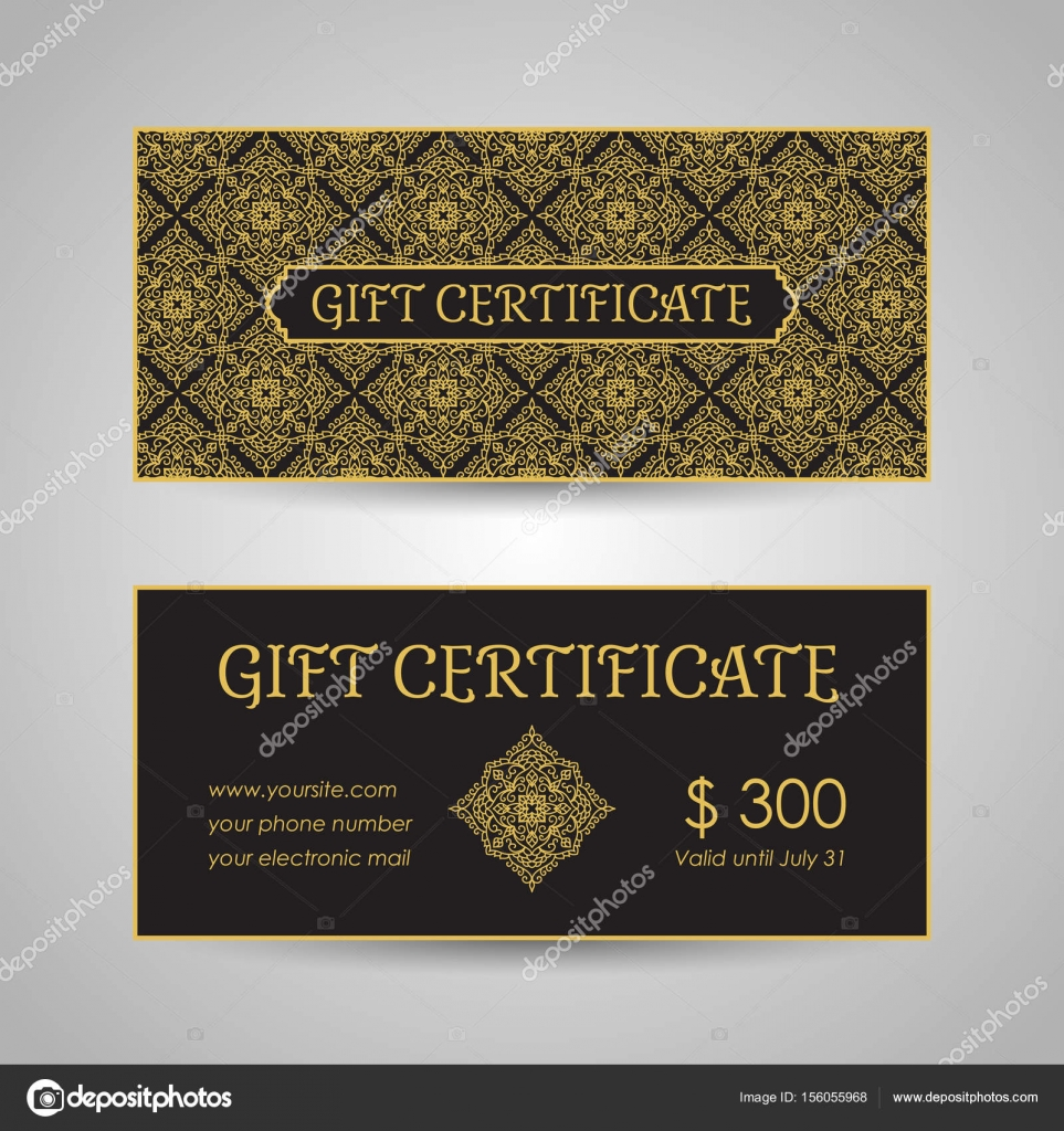 arabic style gift certificate template stock vector ollevita