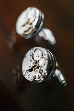 cufflinks groom in the form of a clockwork