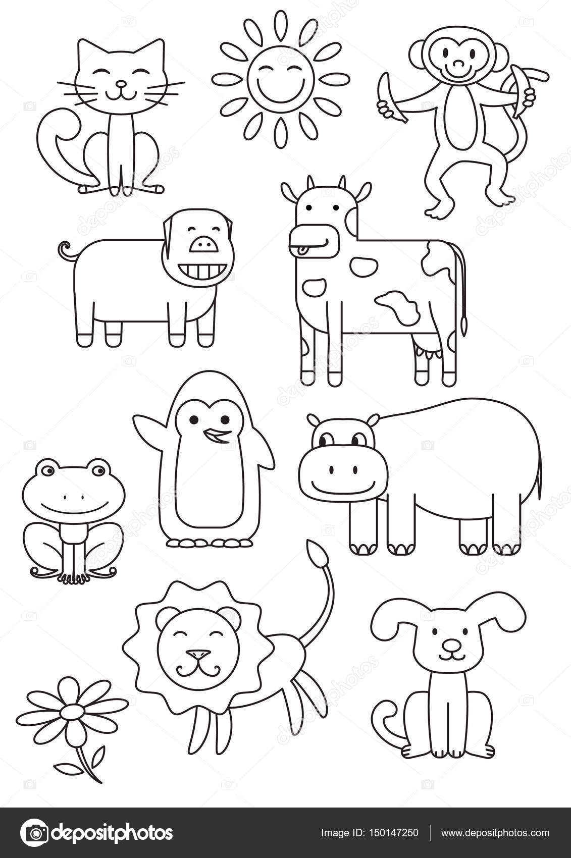 Pictures Cartoon Animal To Print Cartoon Animals Coloring Book