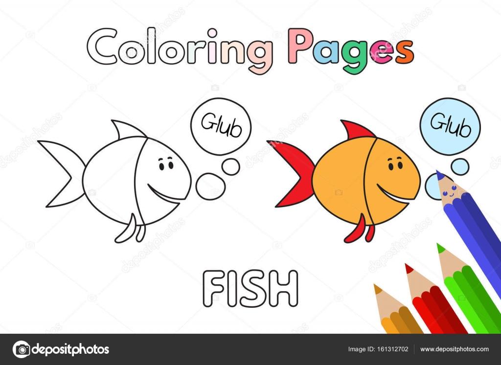 Libro para colorear de dibujos animados peces — Archivo Imágenes ...