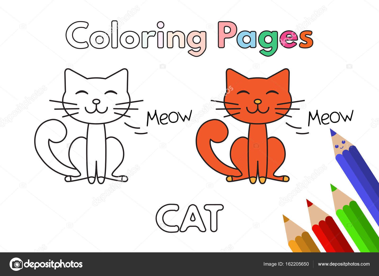 Libro de colorear de gato de dibujos animados — Vector de stock ...