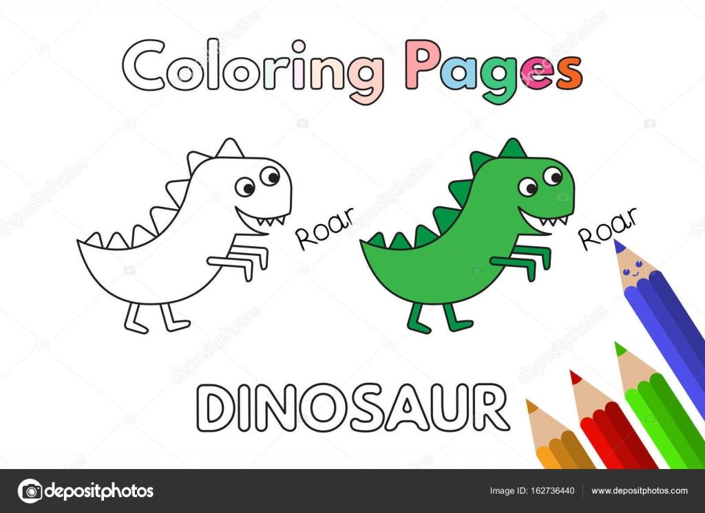 Libro de colorear dinosaurio dibujos animados — Vector de stock ...