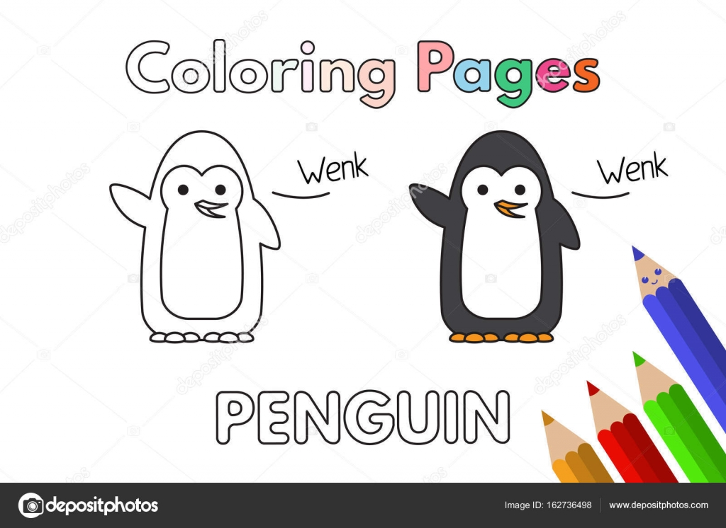 Cartoon Penguin Coloring Book — Stock Vector © Roman_Volkov #162736498