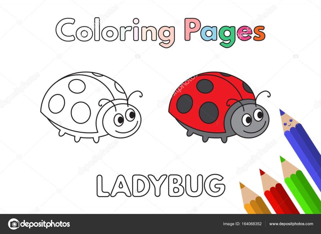 Cartoon Ladybug Coloring Book — Stock Vector © Roman_Volkov #164068352