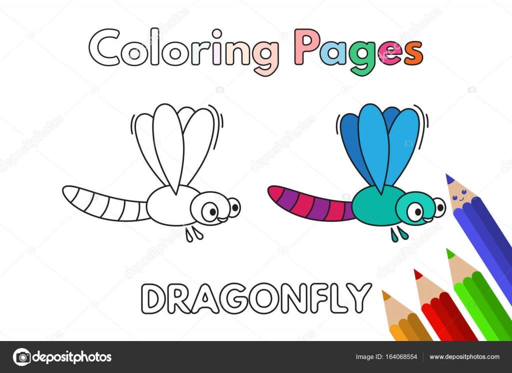 Libro para colorear de dibujos animados libélula — Vector de stock ...