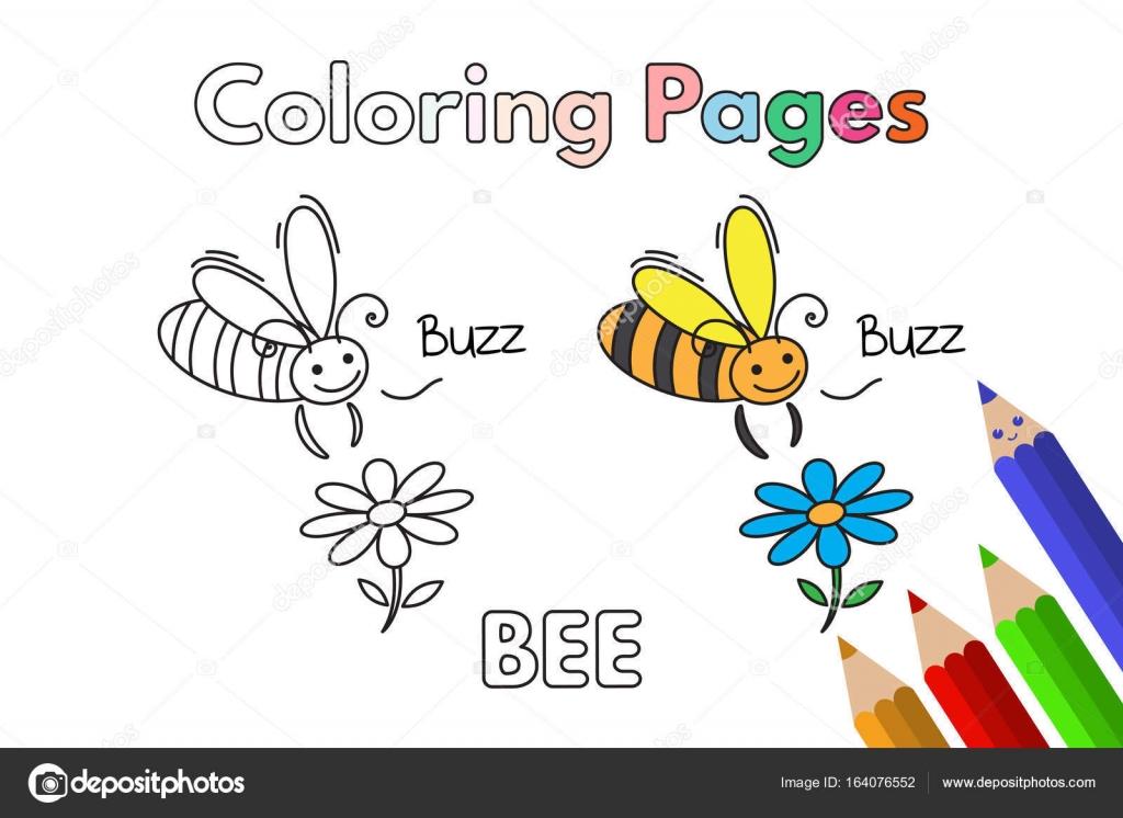 Cartoon Bee Coloring Book Stock Vector C Roman Volkov 164076552