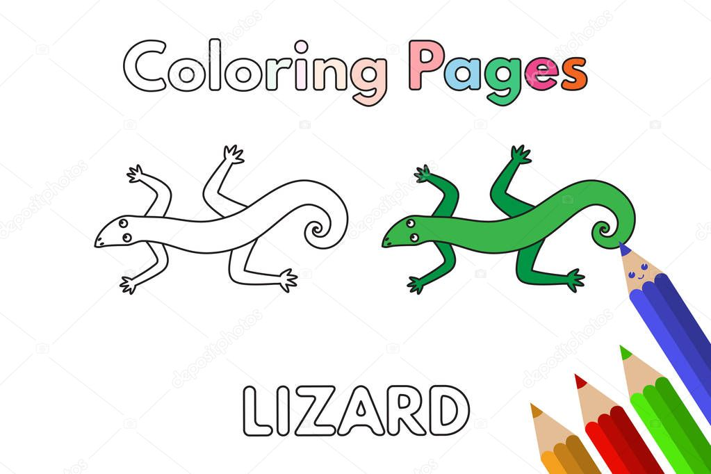 Cartoon Lizard Illustration Vector Coloring Book Pages For Children Premium Vector In Adobe Illustrator Ai Ai Format Encapsulated Postscript Eps Eps Format
