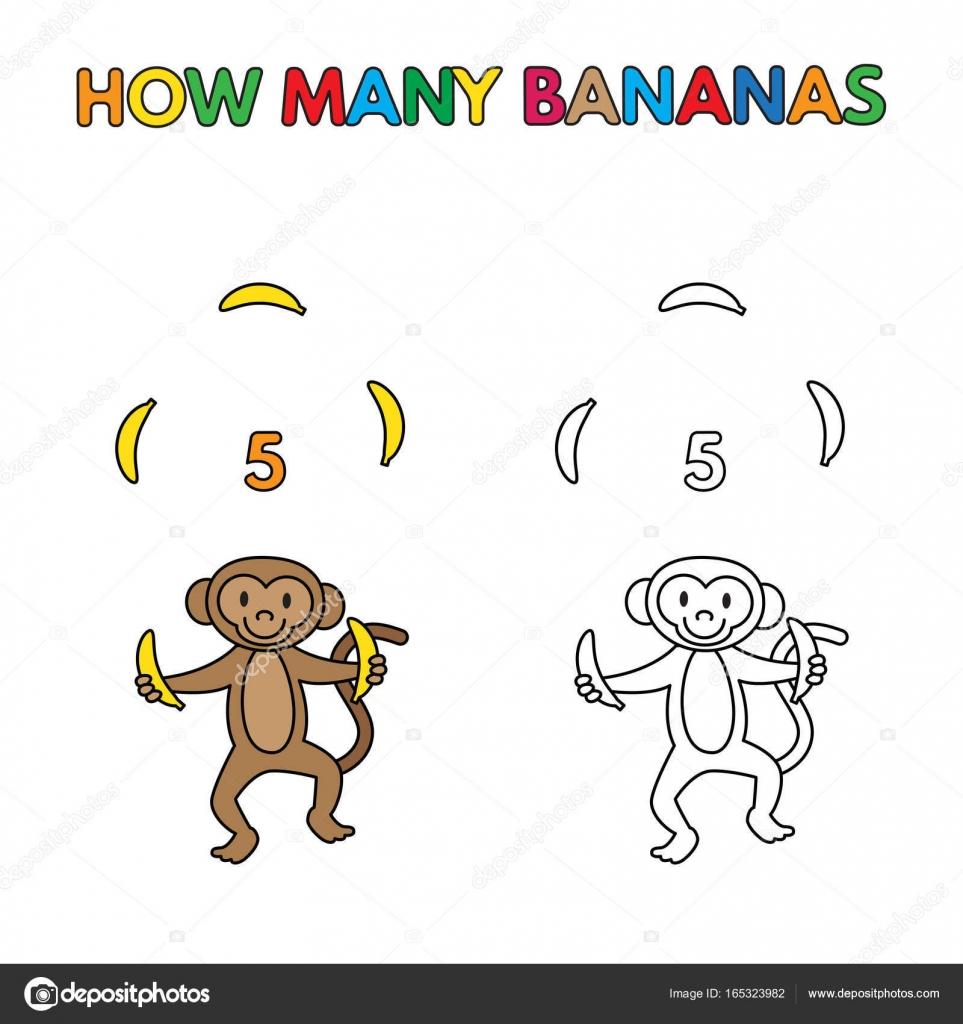 Cartoon Monkey Tellen Bananen Kleurboek Stockvector