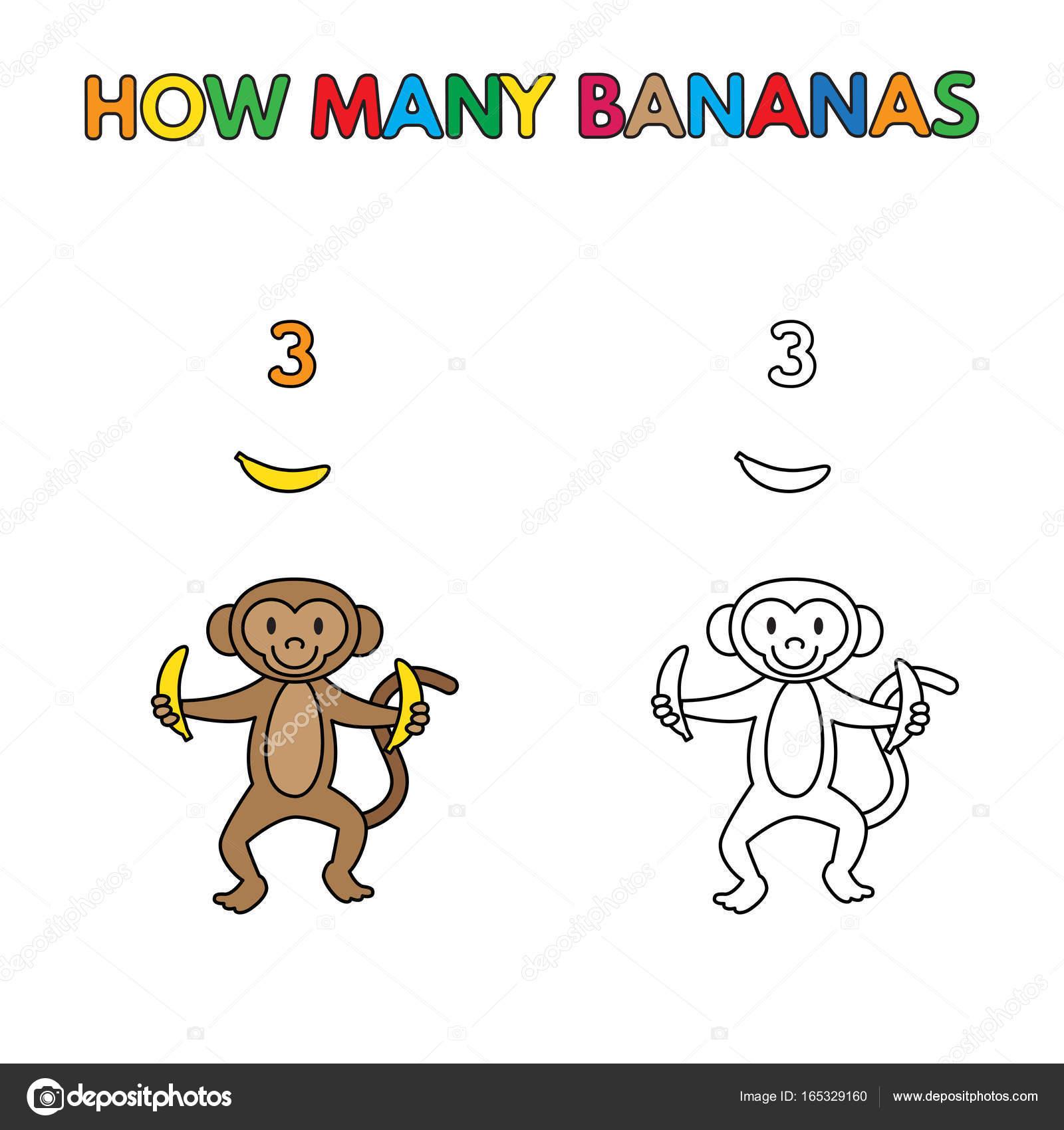 Karikatür Maymun Boyama Kitabı Muz Sayma Stok Vektör