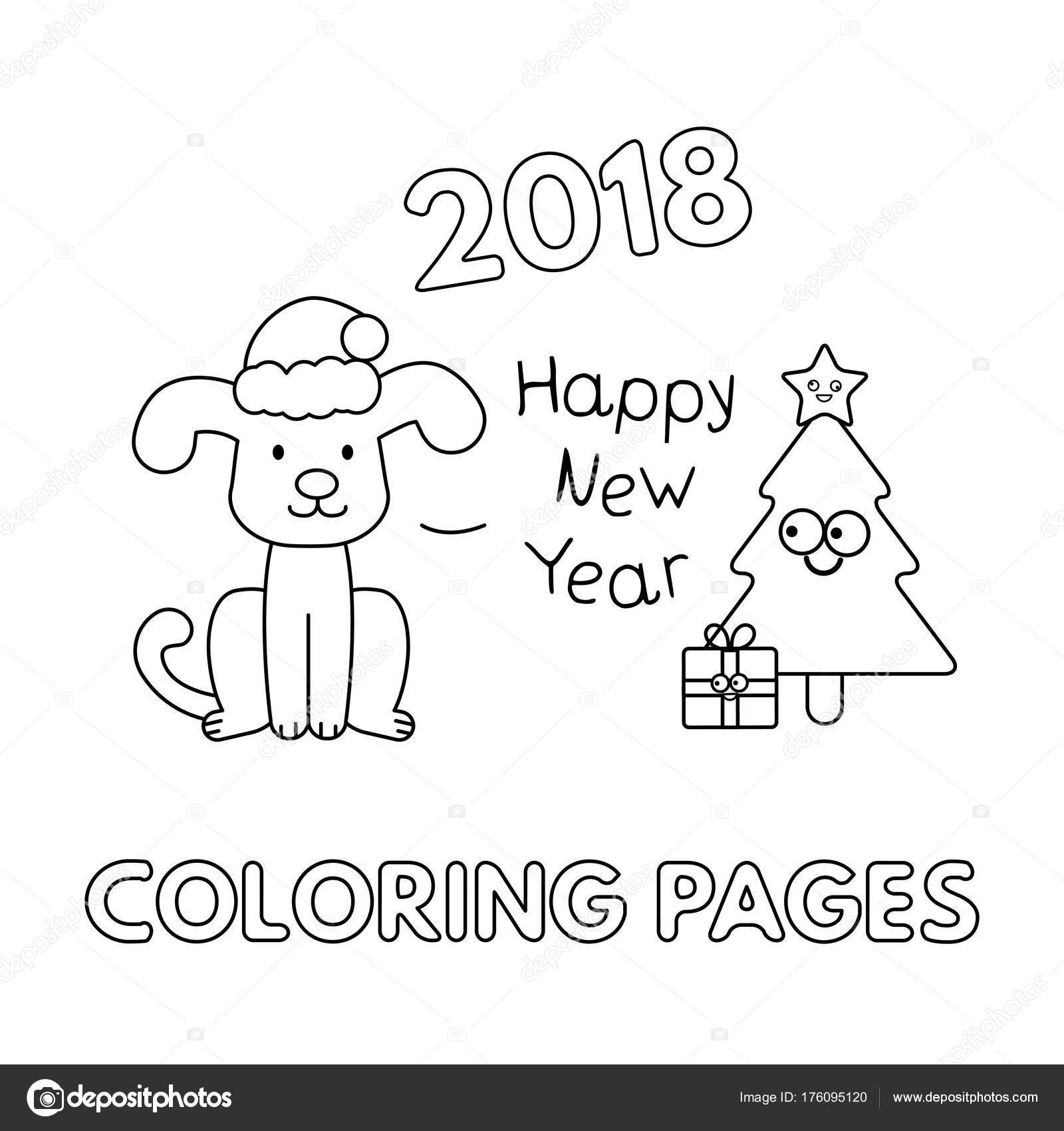christmas card with cartoon dog and christmas tree vector coloring pages with new year symbol vector by roman_volkov
