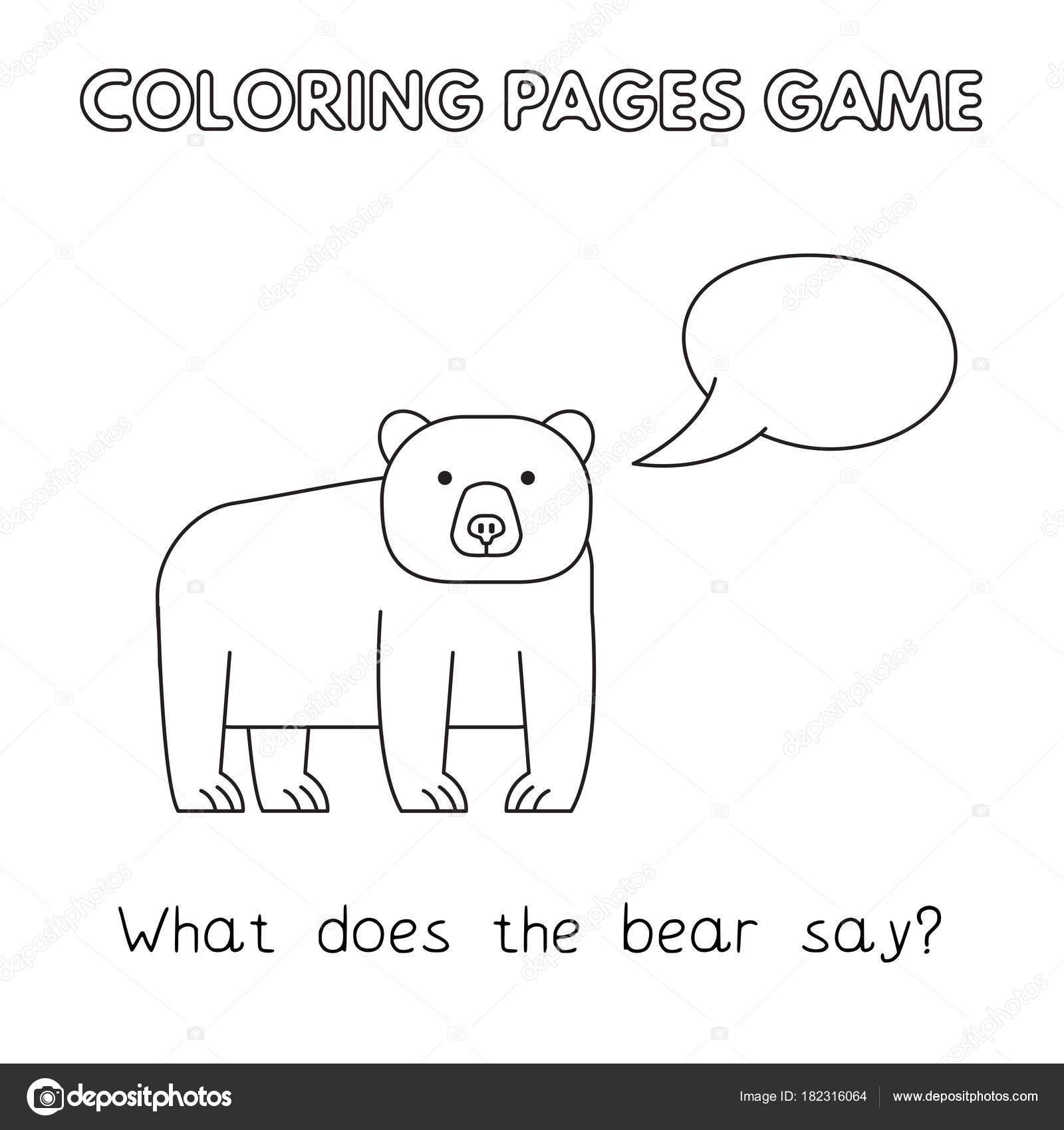 Libro de colorear de oso de dibujos animados — Vector de stock ...