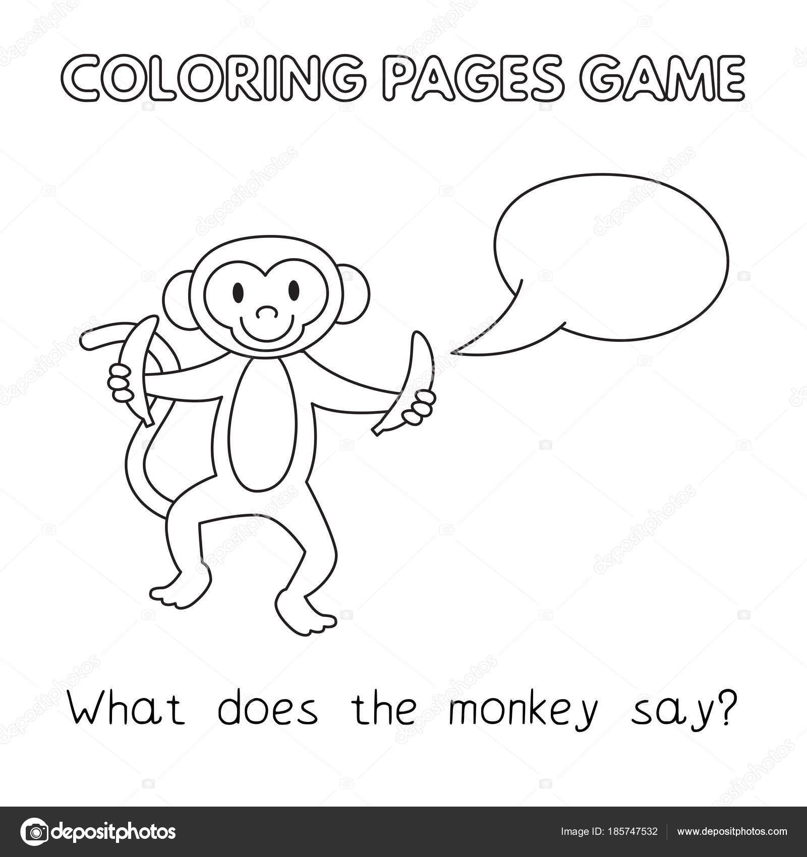 Cartoon Monkey Coloring Book — Stock Vector © Roman_Volkov #185747532