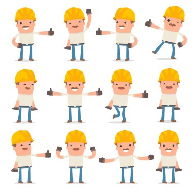 Set of Funny and Cheerful Character Handyman showing thumb up as