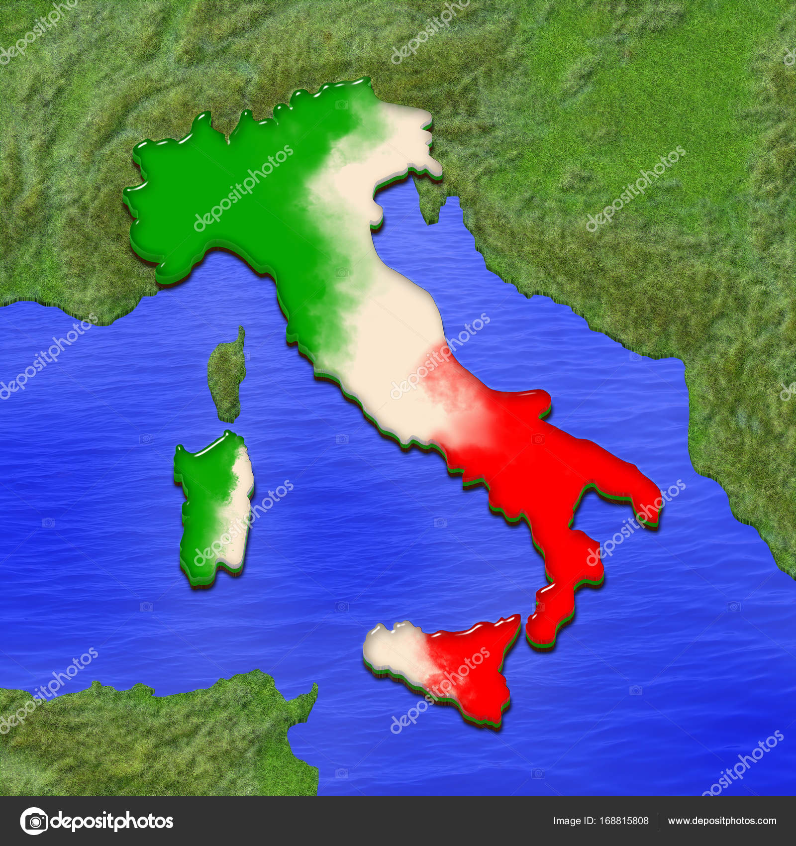 D Map Of Italy Painted In The Colors Of Italian Flag - Italian map