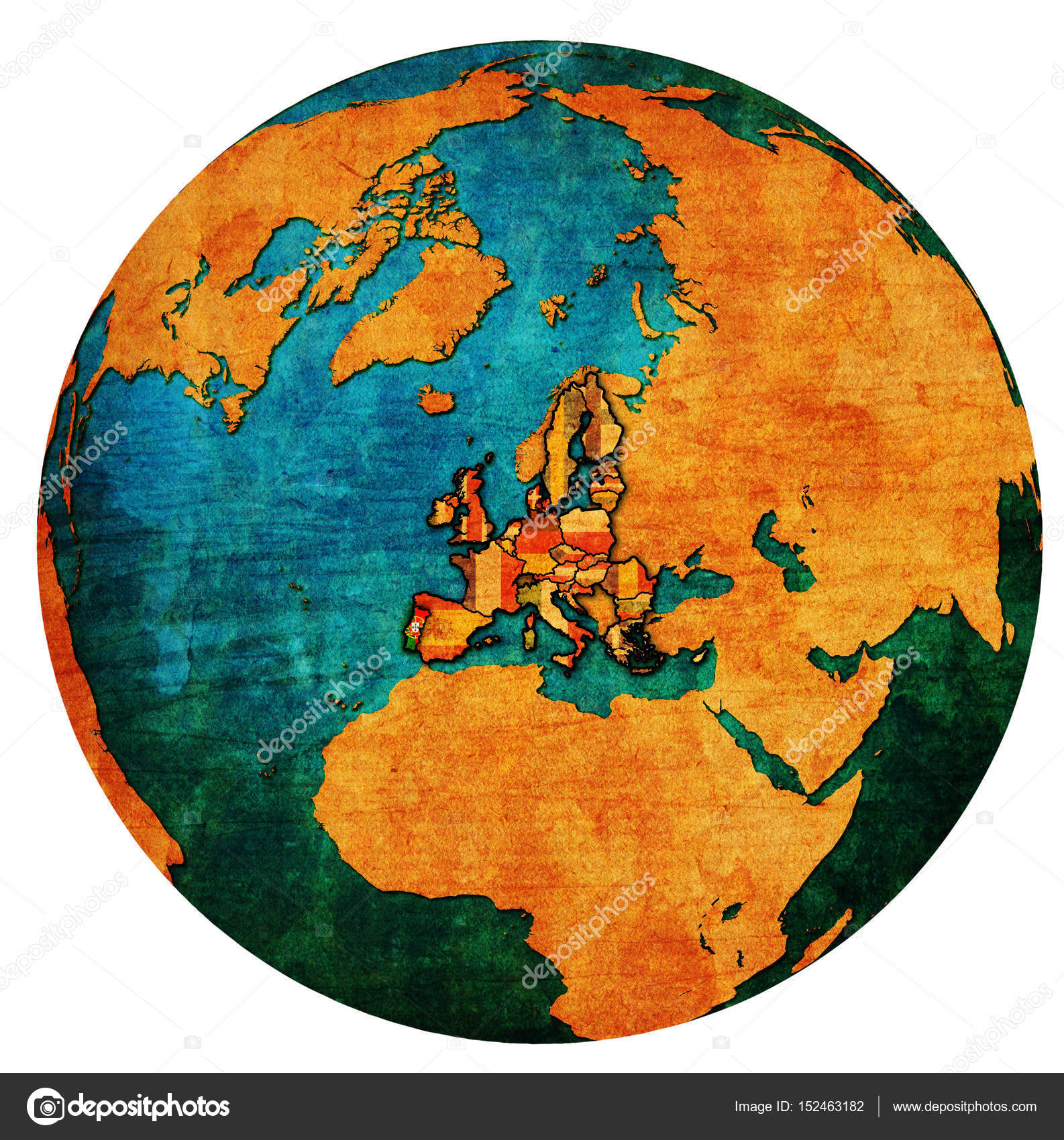 Portugal Territory With Flag Over Globe Map Stock Photo - Portugal globe map