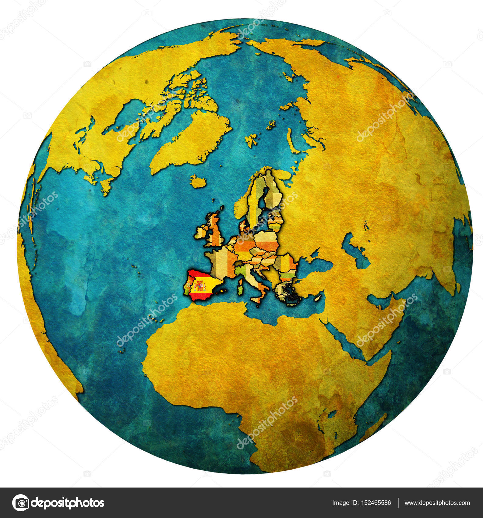 spain territory with flag over globe map u2014 stock photo michal812