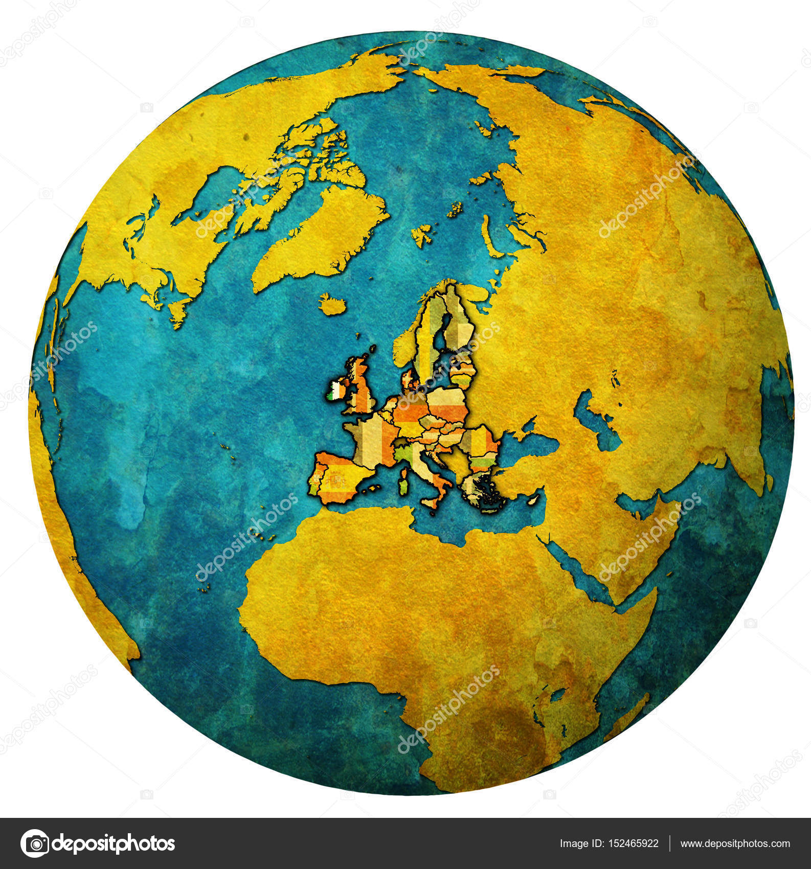 ireland territory with flag over globe map — Stock Photo © michal812 ...