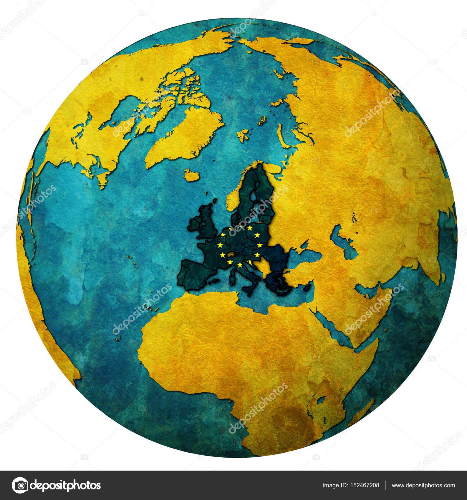 Karta Varlden Europa.Europeiska Unionens Territorium Med Flagga Over Varlden Karta