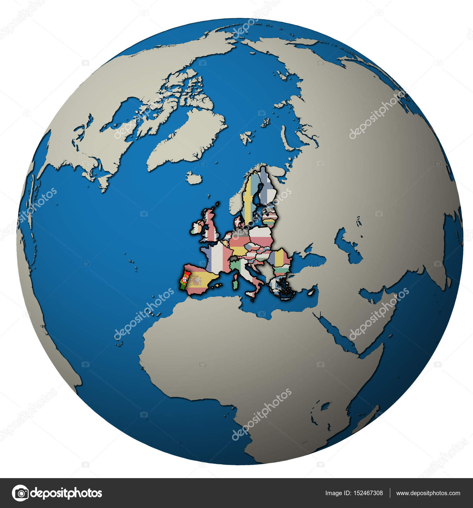 portugal territory with flag over globe map Stock Photo