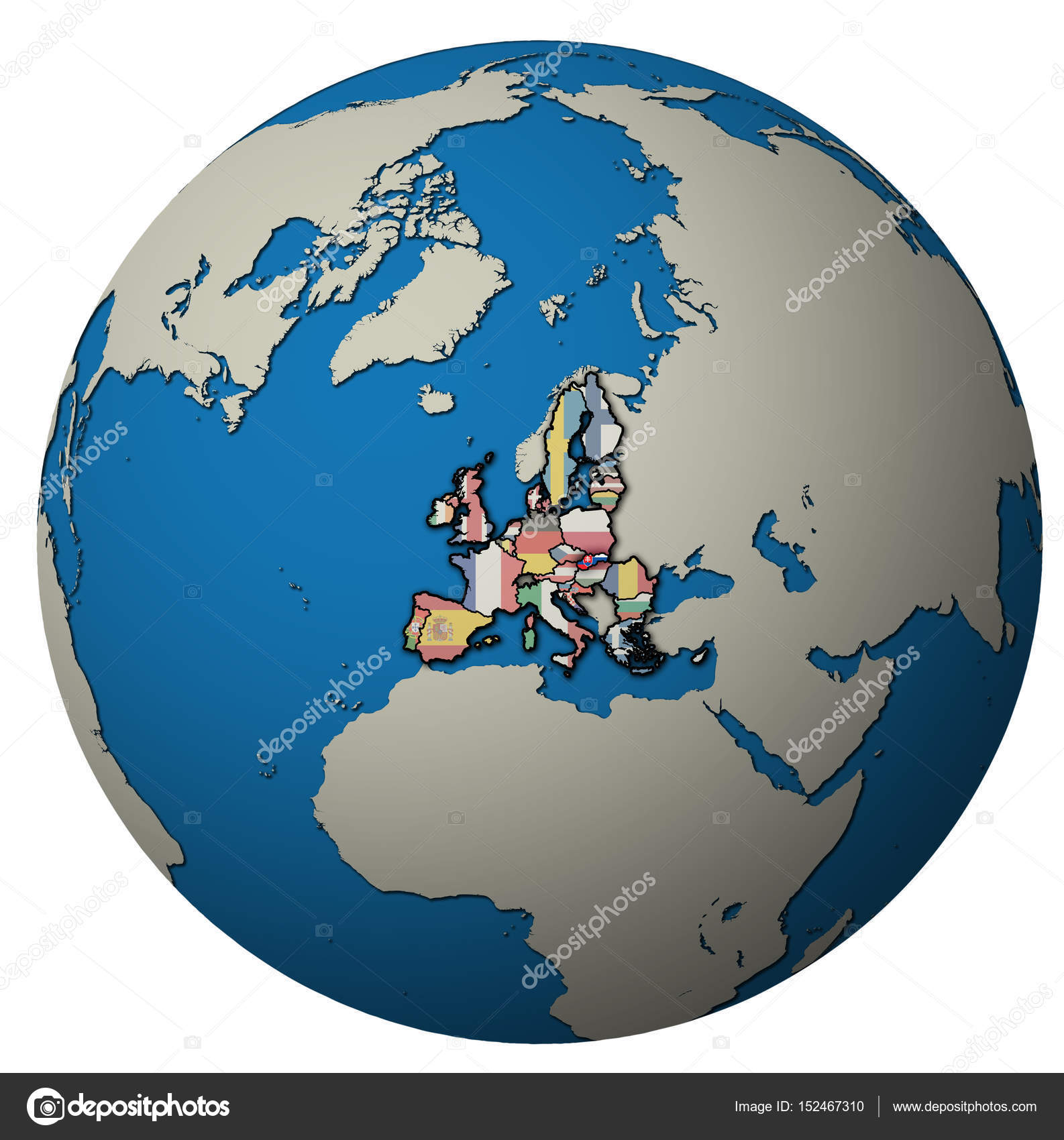 slovakia territory with flag over globe map — Stock Photo ...