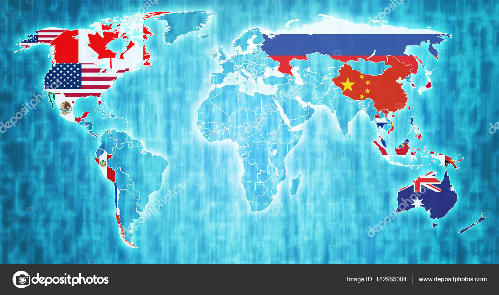 asia pacific economic cooperation member countries flags on world map with national borders photo by michal812