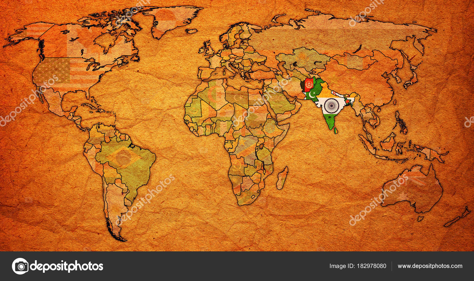 South Asian Free Trade Area Territory On World Map Stock Photo