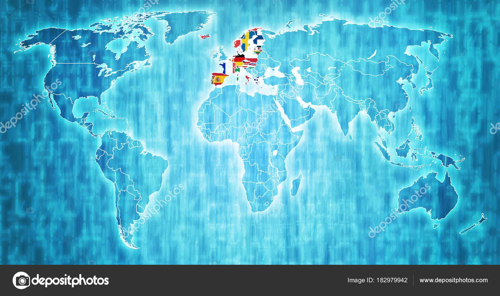 Schengen Raum Mitglied Länder Flaggen Auf Weltkarte Mit Ländergrenzen U2014 Foto  Von Michal812
