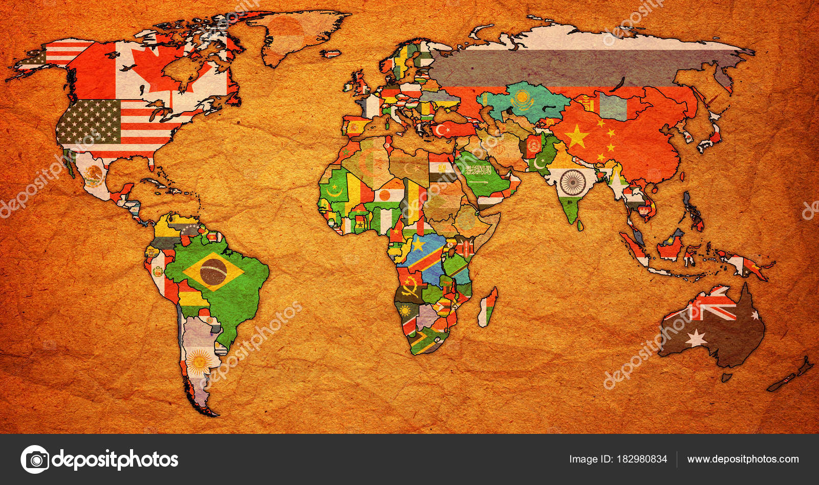 World trade organization territory on world map stock photo world trade organization member countries flags on world map with national borders photo by michal812 gumiabroncs Gallery