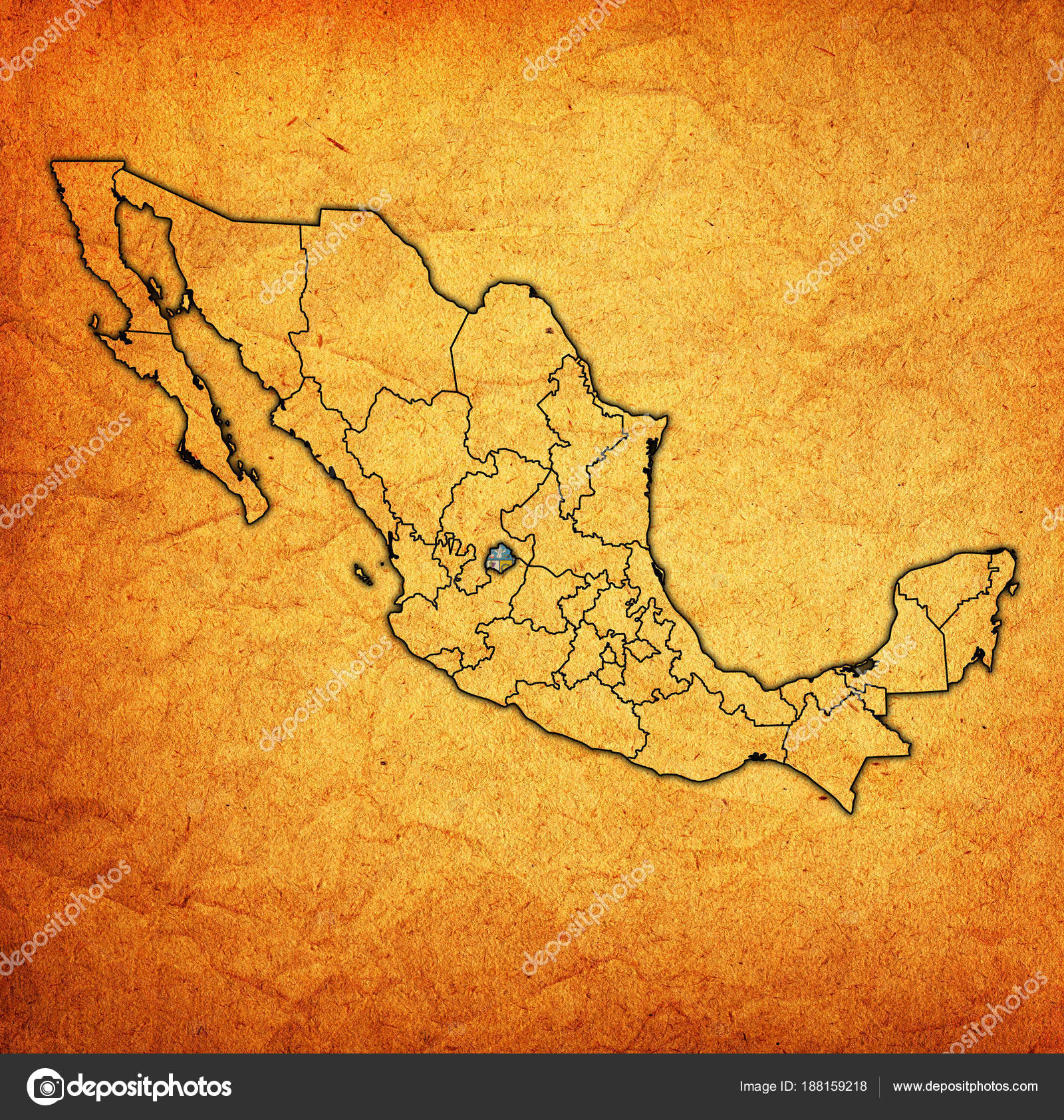 Aguascalientes on administration map of Mexico Stock Photo