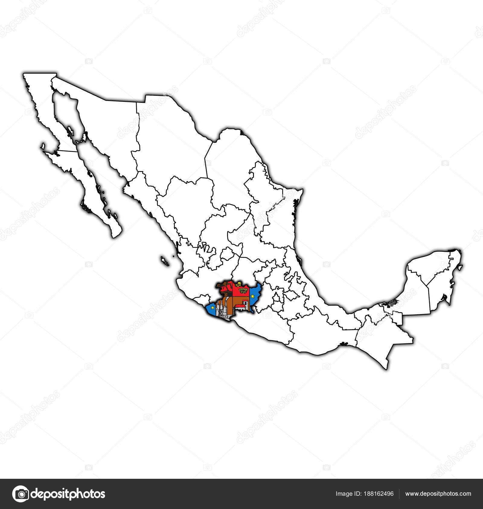 Michoacan on administration map of Mexico — Stock Photo © michal812 ...