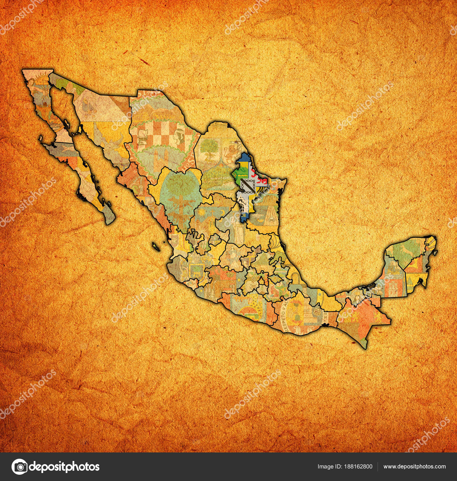 Nuevo Leon On Administration Map Of Mexico Stock Photo C Michal812