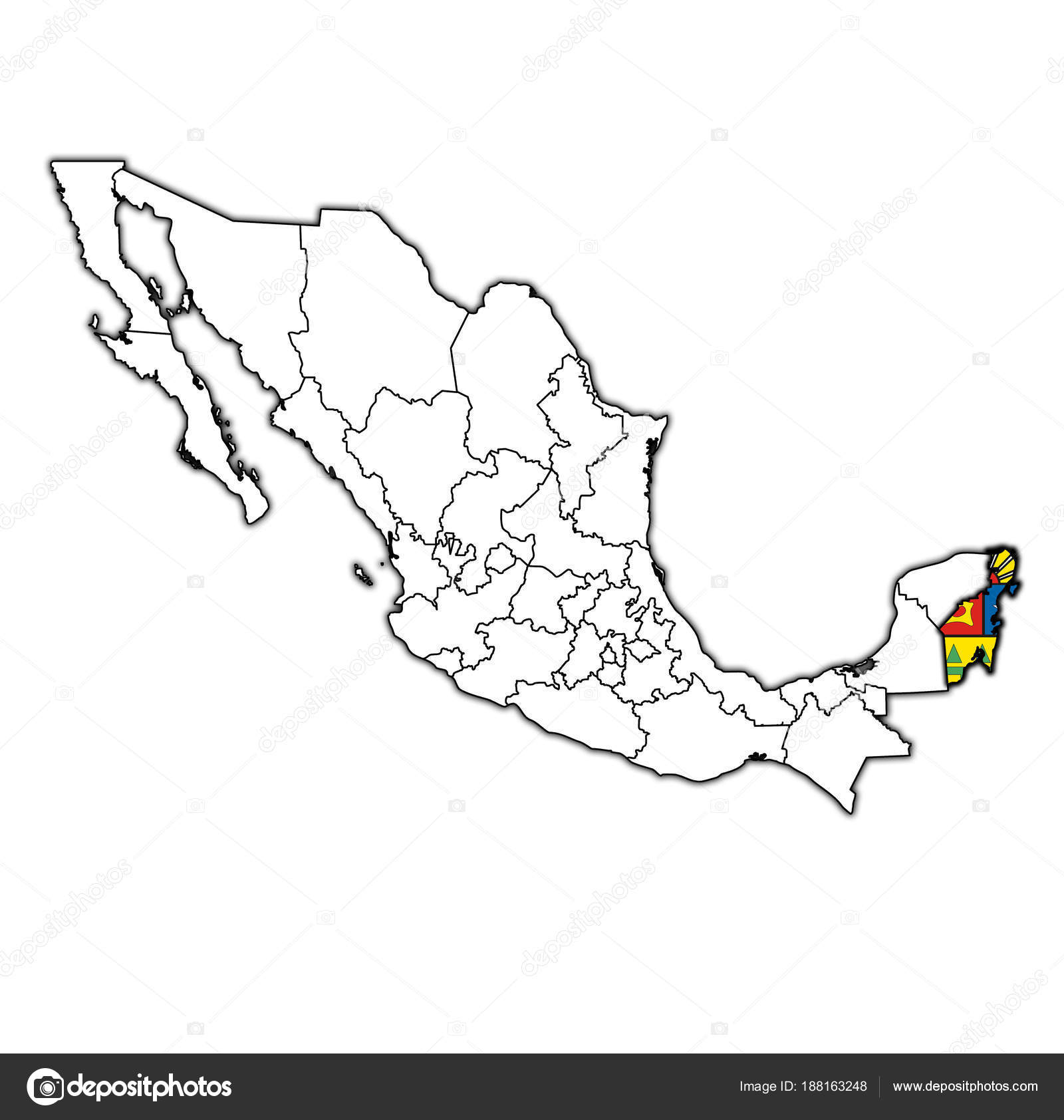 Quintana Roo On Administration Map Of Mexico Stock Photo