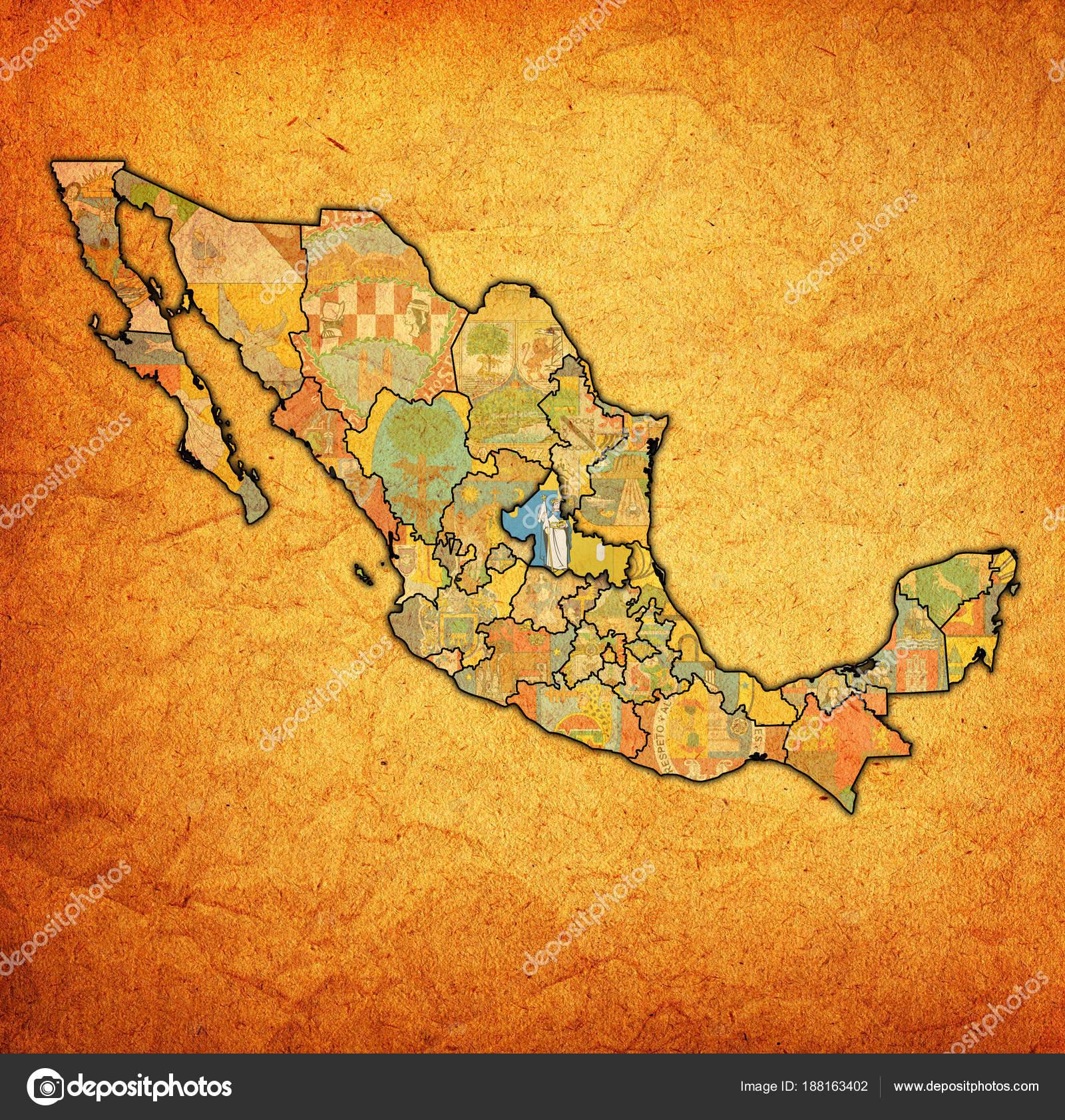 San Luis Potosi On Administration Map Of Mexico Stock Photo