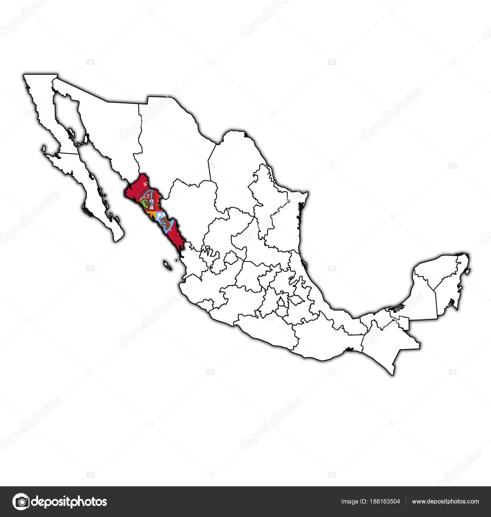 sinaloa on administration map of mexico stock photo
