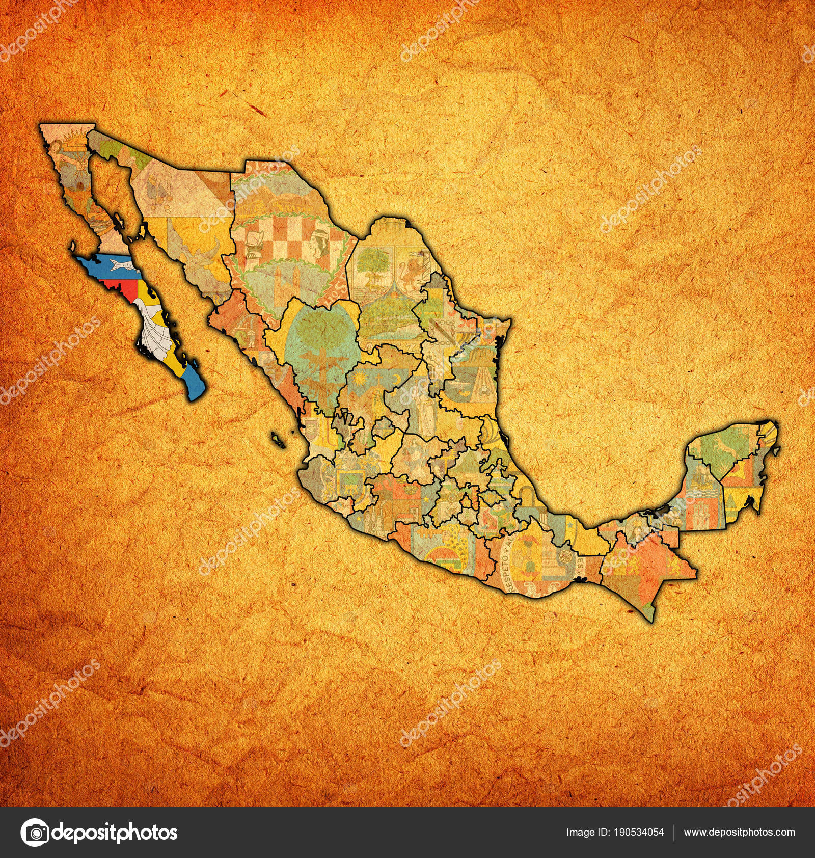 Baja California Sur on administration map of Mexico — Stock Photo ...