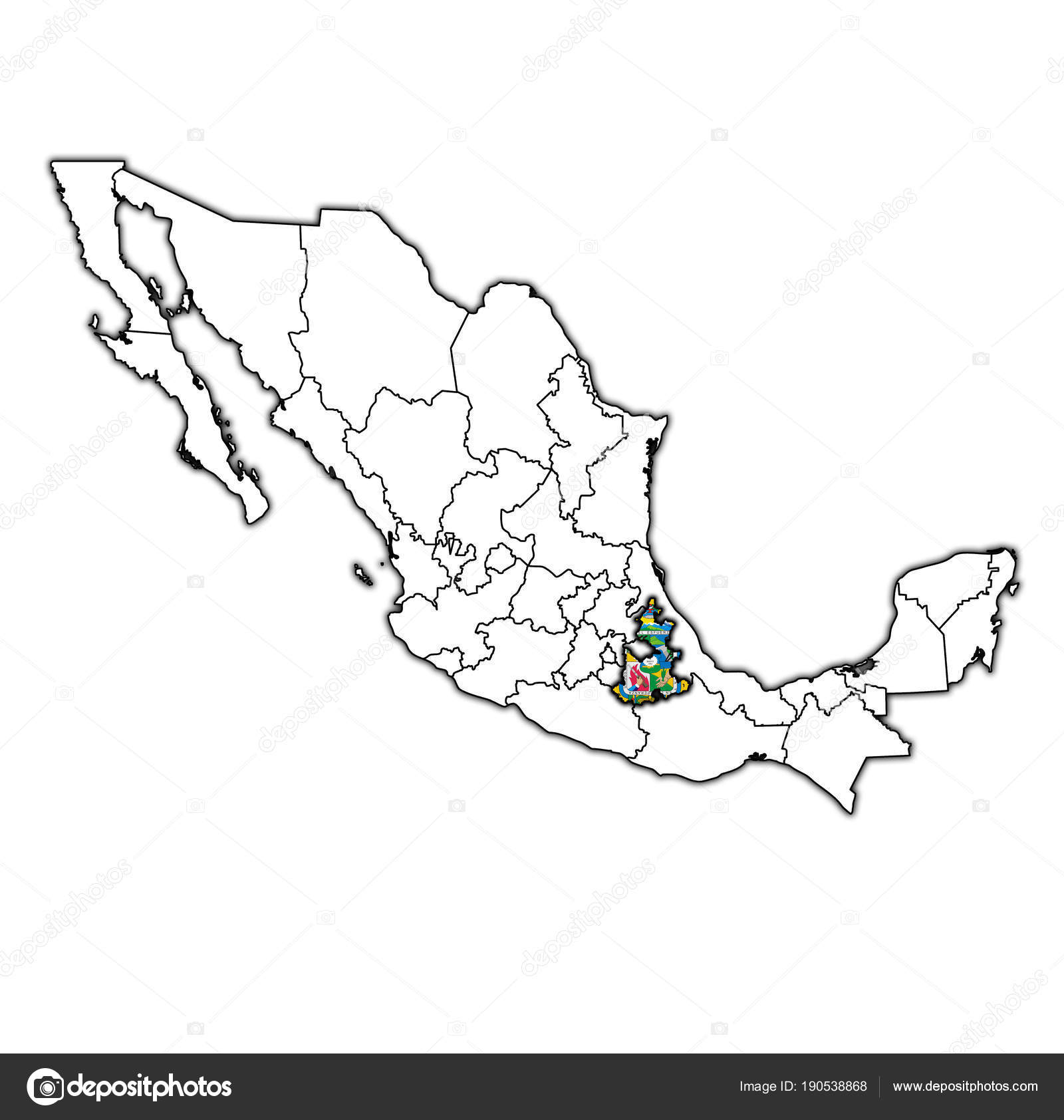 Puebla On Administration Map Of Mexico Stock Photo C Michal812