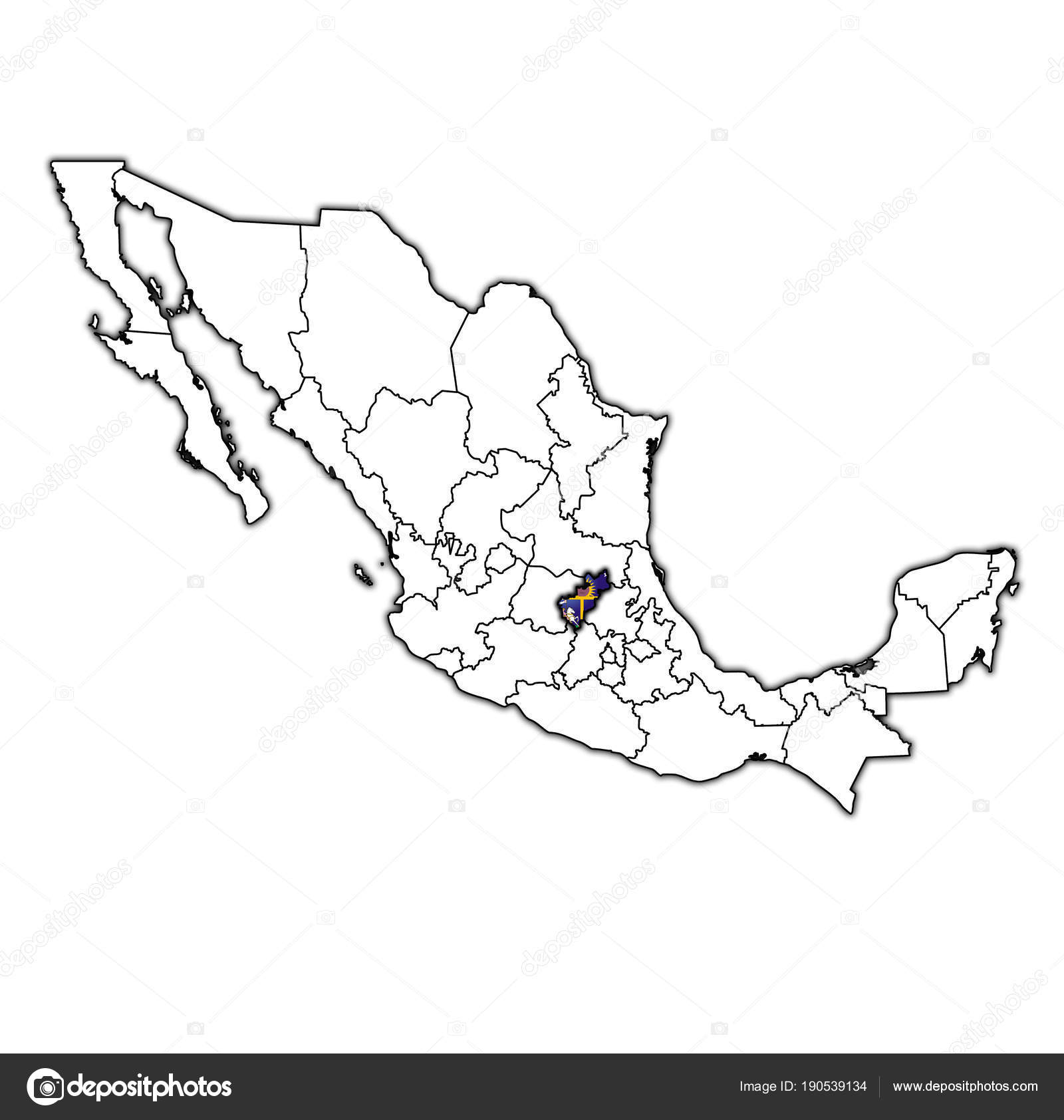 Queretaro on administration map of Mexico Stock Photo michal812