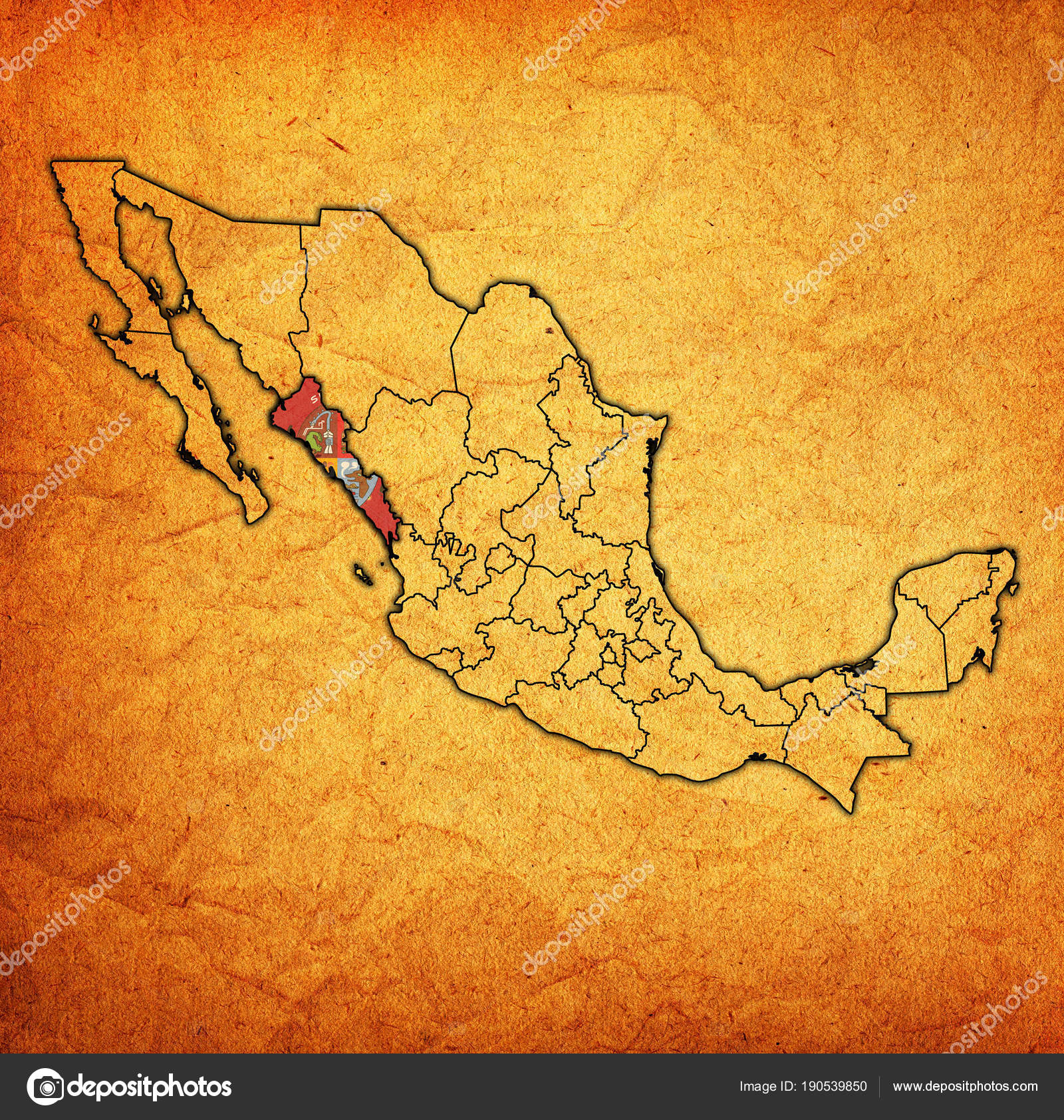 Sinaloa State Map.Sinaloa On Administration Map Of Mexico Stock Photo C Michal812