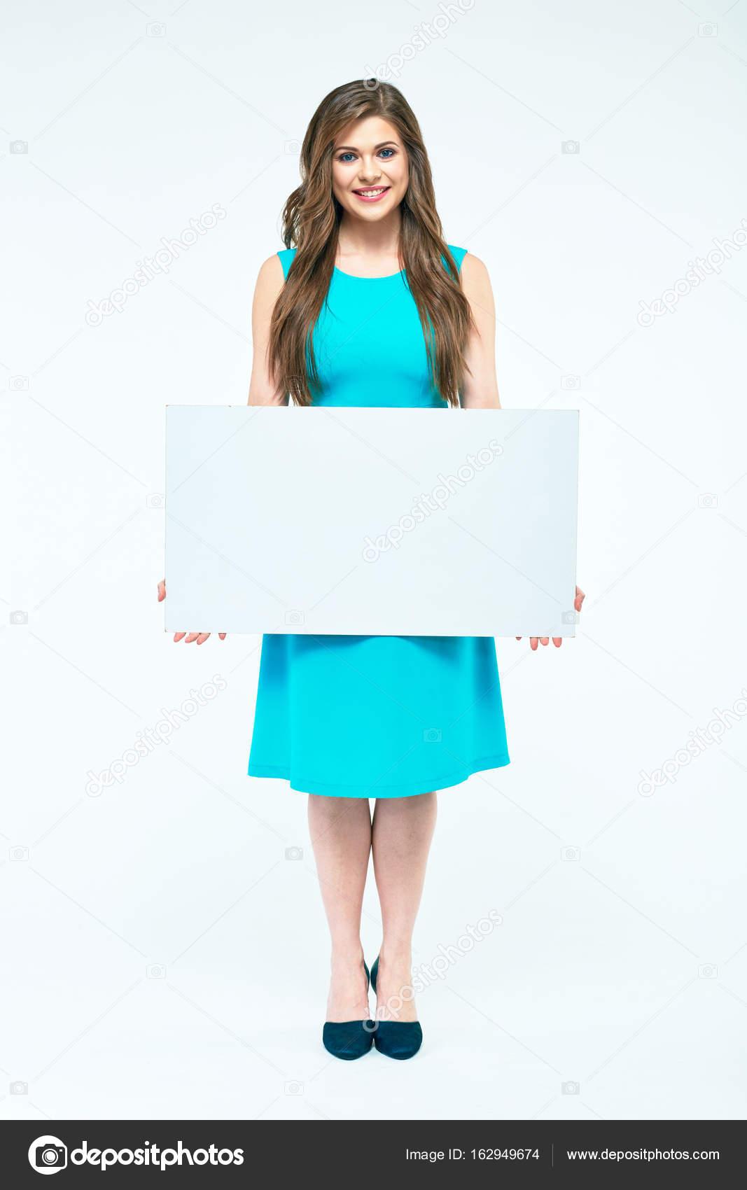 Portrait de femme de tout le corps. Conseil d administration tenue ... f70884d6a641