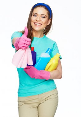 Smiling woman holding bottle of chemistry for cleaning house sh
