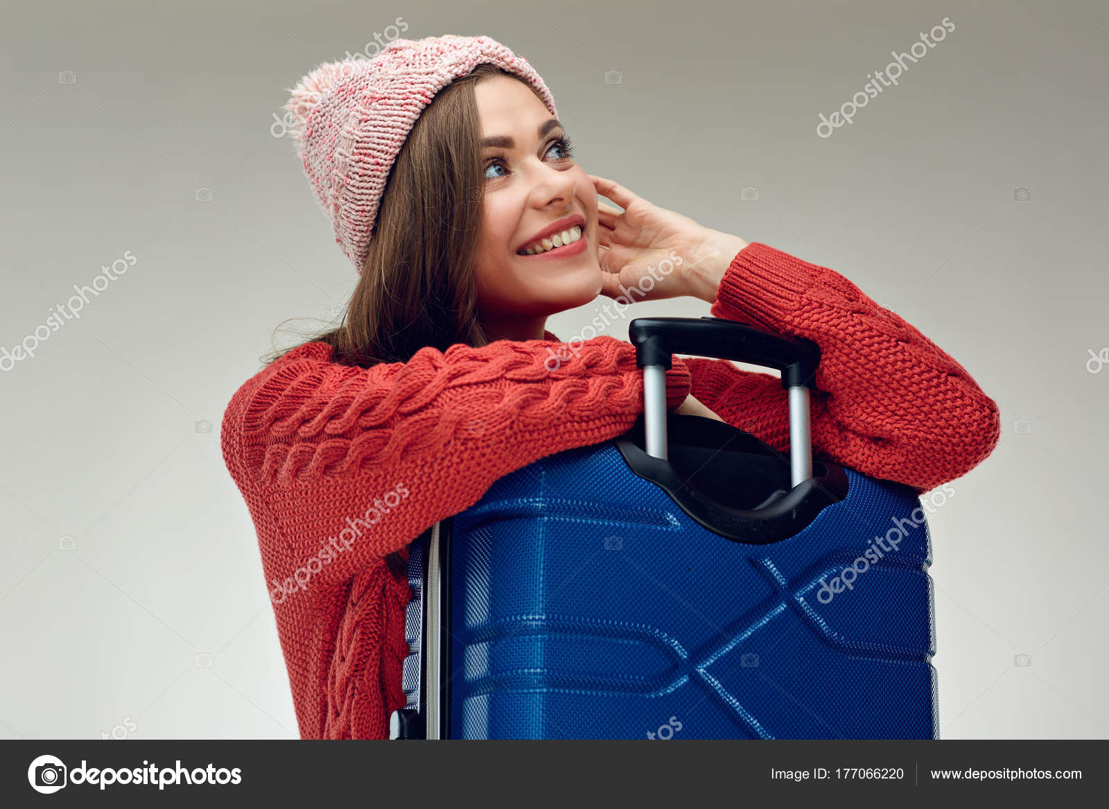 Portrait Smiling Woman Traveler Red Knitted Sweater Hugging Suitcase
