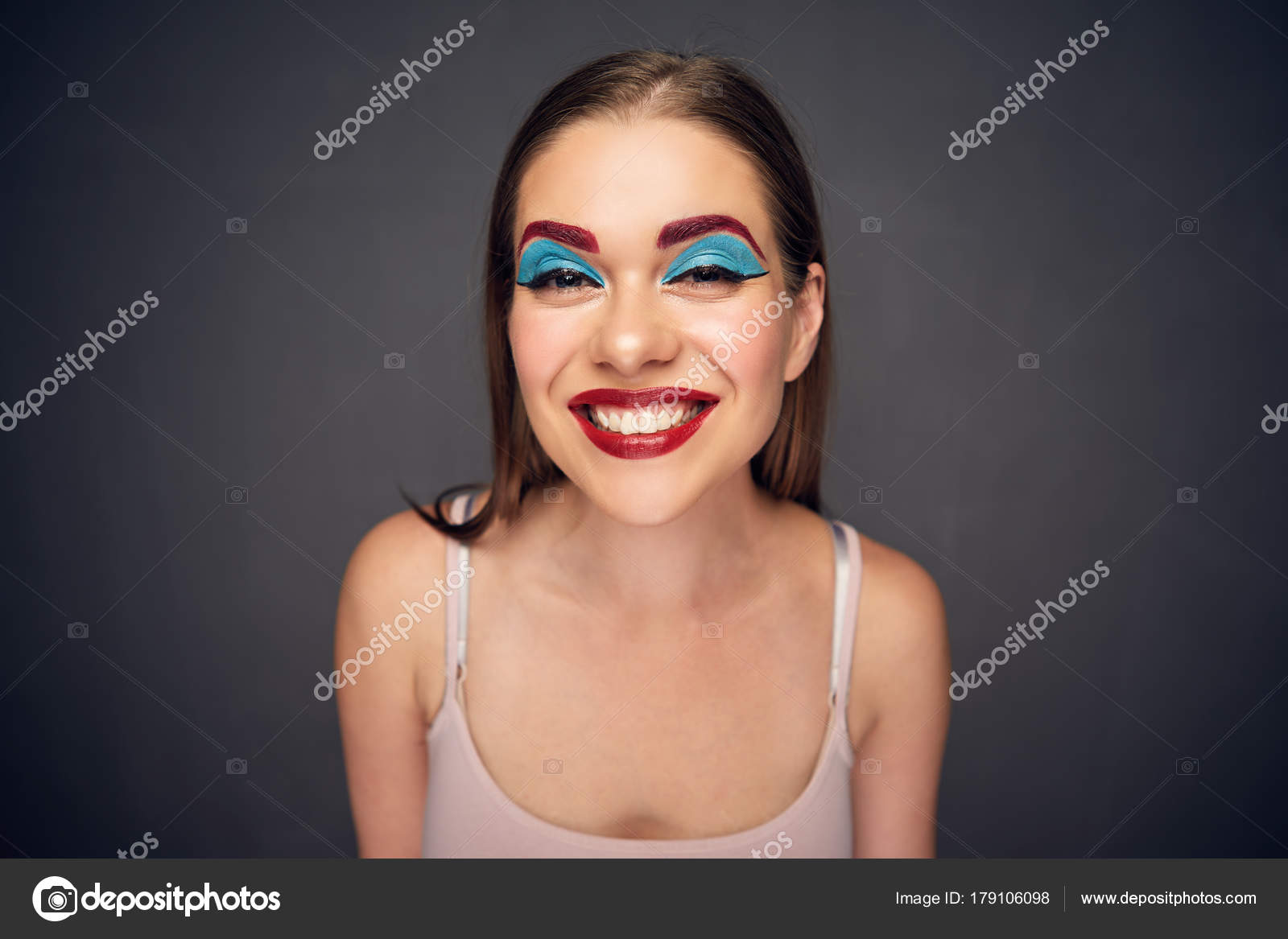 crazy makeup artist clown worst makeup woman mistake concept stock