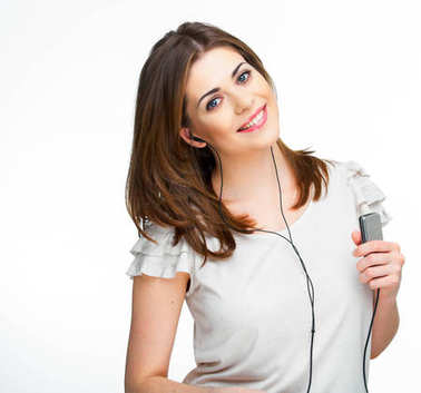 woman with headphones listening to music on mp3 player isolated white background
