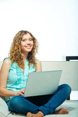 Portrait of young student  woman  posing on interiour with laptop