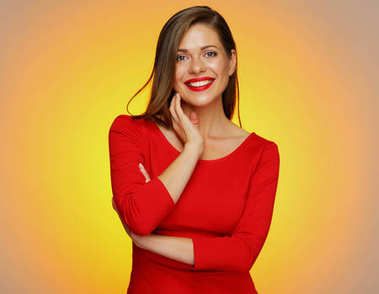Smiling woman wearing red dress posing on yellow background stock vector