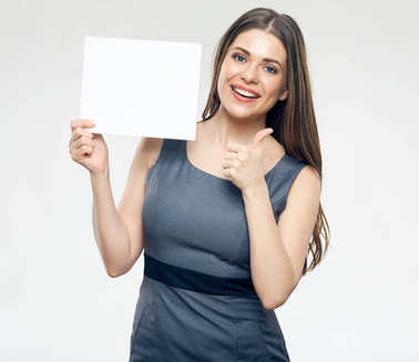 Smiling woman holding blank sign board and showing thumb up stock vector