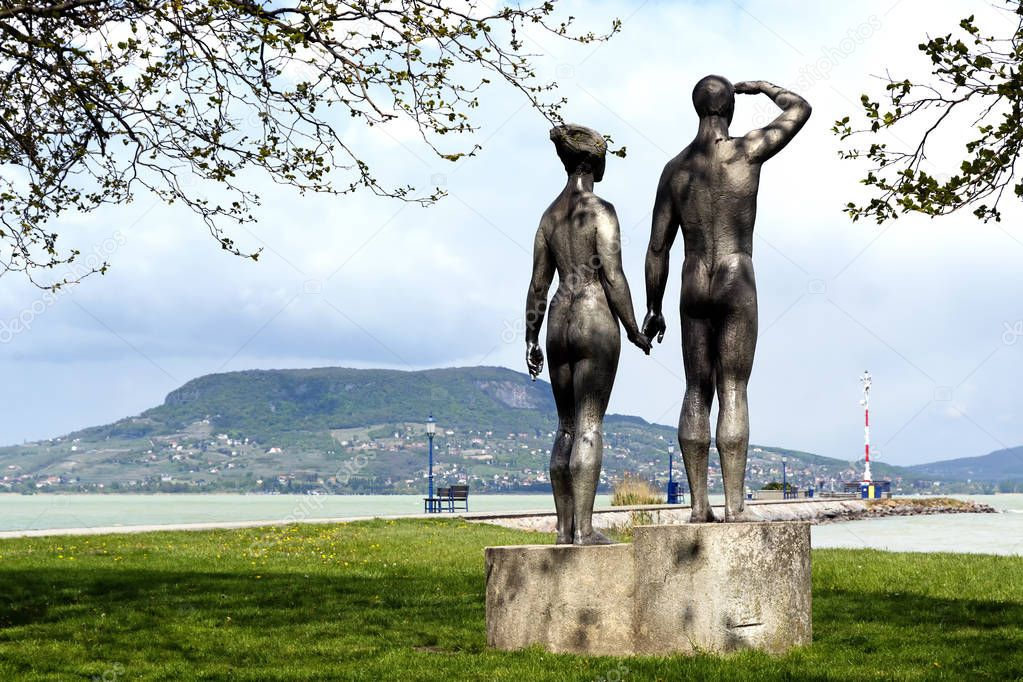 Couple sculpture at Lake Balaton ( Fonyod ) in April 2017,  Hungary