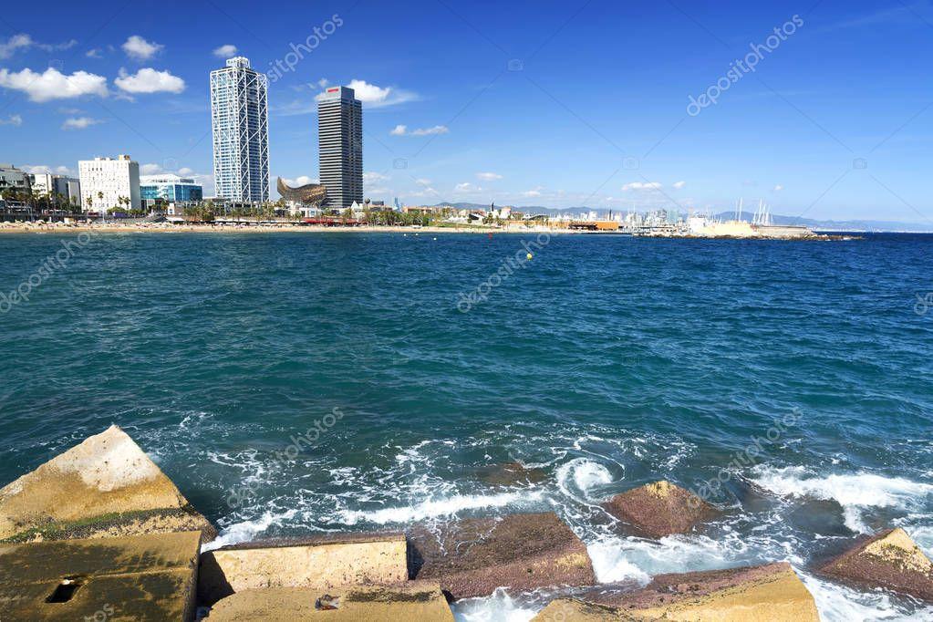 Coast of Barcelona in 20. September 2017, Spain
